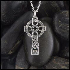 Sterling Silver Celtic Cross designed by John McHenry. Traditional handcrafted Celtic Crosses designed by Walker Metalsmiths. Jewelry inspired by Irish & Scottish Heritage. Mens Celtic Cross Necklace, Mens Silver Necklace, Silver Hoop Earrings, Silver Ring, Celtic Crosses, Celtic Knot, Mommy Jewelry, Couple Jewelry, Sterling Silver Cross Pendant