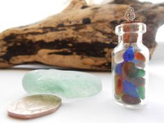 SEAGLASS - TINY BOTTLE OF BEACH GLASS WISHING GEMS, EACH COLOURFUL WISH CONTAINED WITHIN A GLASS BOTTLE PENDANT, FROM NORTHUMBRIA + SEAGLASS HEART FREE