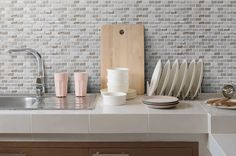 Renovate your kitchen with a classic mosaic! Our Luna Mini Brick Textured Mosaic Glass Tile in Dunes adds a classic, understated design to any room. Starting at $18.99 SQ FT these tiles are versatile and can be paired with any style of kitchen or bath to create a unique look.