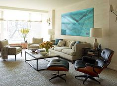 living room design in blue and green colors