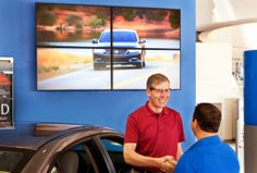 Car dealership digital signage displays from the Automotive Broadcasting Network can be horizontal screens, vertical screens, menu boards, or as shown in this example, video walls.  A showroom video wall provides an engaging way to communicate with customers while adding energy to the showroom environment.  See more examples of car dealership digital signage on our website at  http://www.abnetwork.com.