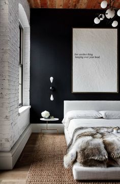 We love industrial bedroom decor for a wide range of reasons. The main reason we enjoy industrial bedroom decor is the balance that is provided between comfort and harmony. Black Accent Walls, Black Walls, Black Brick Wall, Black Wall Decor, White Brick Walls, Modern Wall Decor, Black Accents, Black Wood, Modern Bedroom Furniture