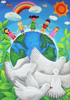First-prize in United Nations's Art Contest in the year old category went to Yan Ling of Malaysia. Peace On Earth, World Peace, Drawing For Kids, Art For Kids, Peace Drawing, Graffiti Kunst, Peace Poster, Poster Drawing, Peace And Love