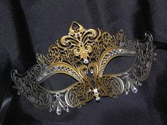 Gold and Silver Rhinestone Metallic Masquerade Mask with Gem Accents Stacy Keibler, Butterfly Mask, Silver Highlights, Halloween Masquerade, Laser Cut Metal, Beautiful Mask, Silver Rhinestone, Metallic, Brooch