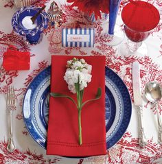 Red, white & blue tablesetting