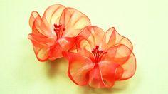 Воздушные ЦВЕТЫ из Лент. Мастер-класс / Ribbon Flowers Tutorial / ✿ Nata...