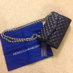 Rebecca Minkoff Black bag with silver stud details and chain. Rebecca Minkoff Bags