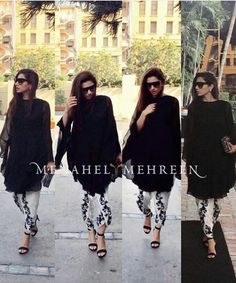 Pakistani actor Mahira Khan in a shalwar kameez by Menahel & Mehreen. Pakistani Casual Wear, Pakistani Outfits, Indian Outfits, Indian Attire, Indian Wear, Mahira Khan Dresses, Pakistan Fashion, Traditional Fashion, Kurta Designs