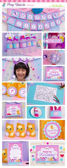 Pony Unicorn Birthday Party Package Collection by happyDIYparty #pink #unicorn…
