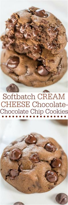 Softbatch Cream Cheese Chocolate-Chocolate Chip Cookies - Cream cheese keeps them super soft!  CG: made 9/4/16; baked for ten min, delicious! Yield 2 dozen.