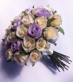 Ivory Lillac Roses Posy 33 Buds Wedding Bouquet Artificial Silk Flower | eBay