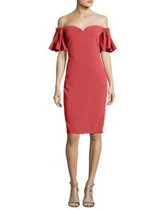 Off-the-Shoulder+Sweetheart+Cocktail+Dress+by+Badgley+Mischka+at+Neiman+Marcus.