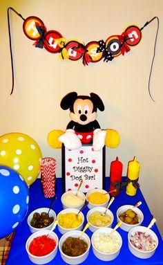 Possible birthday party theme is going to be Mickey Mouse and we are soooo having a hot diggity dog bar! We watch Mickey every morning lol and the banner says Hudson. Mickey Mouse Clubhouse Birthday Party, Mickey Mouse 1st Birthday, Mickey Y Minnie, Mickey Mouse Parties, Mickey Party, 3rd Birthday Parties, 2nd Birthday, Birthday Ideas, Elmo Party