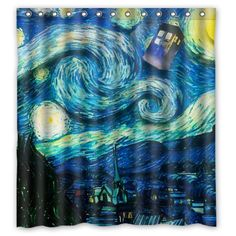 The Starry Night with Tardis shower curtain is my favorite.