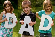 Purchase wood letters from the craft store, spray paint them any color you'd like and take pictures of your cute kids holding the letters!