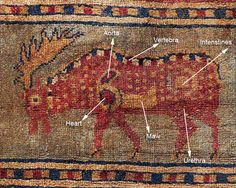 The Pazyryk carpet - detail. The oldest known carpet in the world. The Hermitage, St. Petersburg.