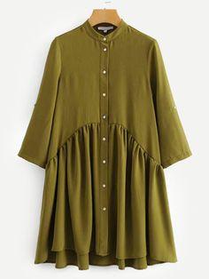 Casual Shirt Button Plain Shift Stand Collar Three Quarter Length Sleeve Natural Army Green Short Length Button Through Shirt Dress Modest Dresses, Modest Outfits, Stylish Dresses, Muslim Fashion, Hijab Fashion, Fashion Outfits, Dress Fashion, Green Shift Dress, Natural Clothing