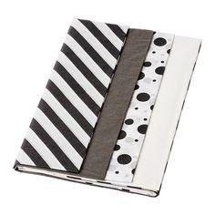FRAMSTÄLLA Seidenpapier, versch. Muster schwarz/weiß