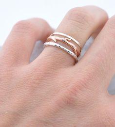 Silver Bands & Rose Gold Twig Ring Set