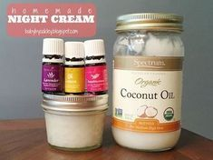 Homemade night cream using Young Living essential oils. Lavender, lemon and frankincense mixed with coconut oil.