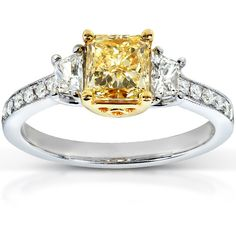 Fancy Yellow Radiant Three-Stone Diamond Engagement Ring 1 carat (ctw) in Gold (VS), Gh (White Diamonds)/Fancy Light Yellow (Main Diamond) Three Stone Diamond Ring, Yellow Diamond Rings, Canary Diamond, Infinity Knot Ring, Gold Knot Ring, Round Diamond Engagement Rings, Fancy, 18k Gold, White Diamonds