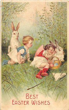 Easter Greetings Bunny Rabbits & Children Antique Postcard (J9783)