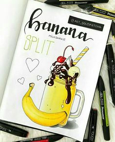 Cute Food Drawings, Sweet Drawings, Cool Art Drawings, Art Drawings Sketches, Kawaii Drawings, Easy Drawings, Bullet Journal Art, Bullet Journal Ideas Pages, Art Journal Pages