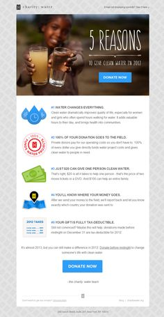 Charity Water: Close out 2012 by gi​ving clean water. Online Newsletter, Email Newsletter Design, Email Newsletters, Charity Water, Minimal Web Design, Email Templates, Newsletter Templates, Newsletter Ideas, Poster Templates