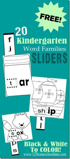 ♥ ♥ ♥LOVE THIS♥ ♥ ♥ FREE Kindergarten Word Families Activity : Word Family SLIDERS - These are so cute and great practice sounding out words for Preschool too. Just color, cut, slide, and read.