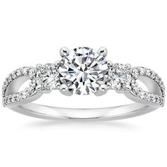 18K White Gold Lumiere Three Stone Ring (1/2 ct. tw.) from Brilliant Earth