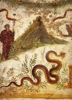 """Dionysos and Agathos Daimon (""""Good Spirit""""), genius of the soil around Vesuvius, Pompeii."""