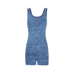 Classic Denim Blue Classic One Piece Swimwear (Model S03)