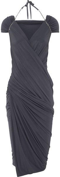 Donna Karan New York Gray Draped Stretch Jersey Dress
