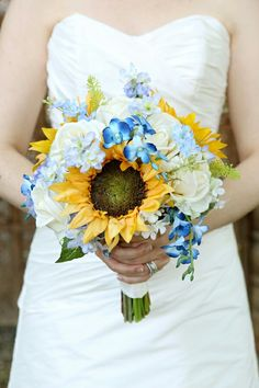 Sunflower, hydrangea and rise bridal bouquet