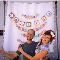 Love Fed Cookbook Launch Party! Banner and Garland by Christina of Love Fed pictured with her beloved artist Alex Andre.