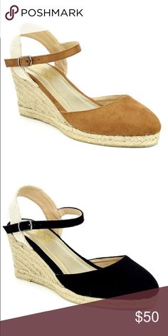 Ladies ankle strap backless wedge shoes. Tan. NIB Really stylish wedge backless shoes for ladies, around 2.5 inches heels, man made suede, ankle buckle strap, brand new in box.this listing is for the Tan shoes but only available in Black color in different listing NO TRADES SHOEROOM21 boutique Shoes Wedges