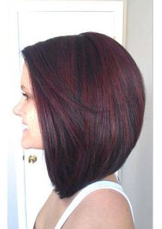 Long bob- gorgeous dark hair with red Haircut And Color, Hair Color And Cut, Pretty Hairstyles, Bob Hairstyles, Hairstyle Ideas, Perfect Hairstyle, Bob Haircuts, Medium Haircuts, Style Hairstyle