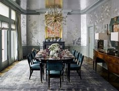 The dramatic dining room is papered in a custom-colored Japanese Garden by De Gournay. The silver-leafed ceiling by Willem Raké studio is designed to complement the wallpaper. The vintage Italian chandelier, purchased at Coup d'Etat in San Francisco, hang Decor, Luxury Dining Room, Dining Room Design, Dining Room Decor, Black Dining Room, Interior Design, Dining Room Lighting, Formal Dining Room, Room