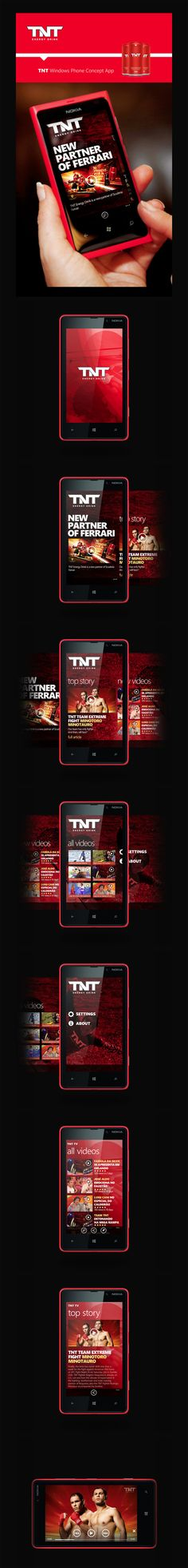 TNT Energy Drink - App for Windows Phone by Robson Pereira, via Behance *** Proposed Application TNT Energy Drink