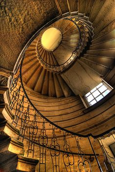 One of the spiral staircases in Seaton Delaval Hall near Newcastle. Bought by the National Trust in 2009, much work remains to be done. The main part of the Hall was severely damaged by fire in 1822 and remains only as a shell.