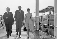 The actress Audrey Hepburn photographed with her husband Mel Ferrer (actor, dialogue coach and film director) during their arrival at the Dublin Airport (in Irish: Aerfort Bhaile Átha Cliath), in Dublin (Ireland), from Paris (France), on August 14,...