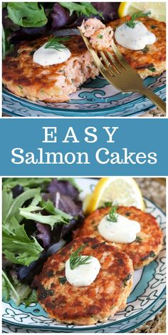 These Easy Salmon Cakes with Lemon Dill Sauce are a simple dinner idea salmon cakes patties recipe via 628885535439971029 Best Fish Recipes, Tilapia Fish Recipes, Healthy Recipes, Lemon Dill Sauce, Salmon Croquettes, Butter Salmon, Baked Salmon, Baked Fish, Seafood Dishes
