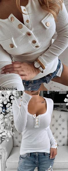 Basic Tops on Big Sale Buy 2 Get OFF (Code: Go to Dressi to check more discount Casual Outfits, Cute Outfits, Fashion Outfits, Womens Fashion, Fashion Trends, Fashion 2020, Pumps, Nyc, Fall Winter Outfits