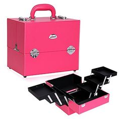 Sunrise Professional Beauty Makeup Artist Train Case Cosmetic Box , Pink ** Read more reviews of the product by visiting the link on the image.