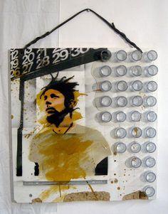 Treiops Treyfid artwork. Big JJ. Mixed media and spray paint stencil on found board. #treiops #spraypaint #stencil