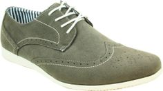 CORONADO Men's Casual Shoes CODY-4 Faux Suede Soft Comfort Oxford with a Classic Wing Tip Grey (potentially vegan)