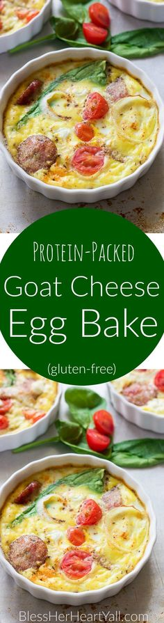 This gluten-free protein packed goat cheese egg bake combines the protein punch of fresh eggs, spinach, and breakfast sausage, with the flavors of creamy goat cheese, tomatoes and a little sweet onion slices for one amazing baked breakfast to fuel your morning right!