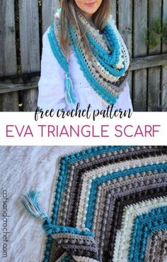Crochet Scarf Easy beginner crochet scarf pattern - the Eva Triangle Scarf! Lightweight yet snug this pattern works up quick with just two Caron Cakes - enjoy! Crochet Triangle Scarf, Crochet Scarf Easy, Crochet Beanie, Crochet Scarves, Crochet Shawl, Beginner Knit Scarf, Crochet Scarf For Beginners, Beginner Crochet, Crochet Gratis
