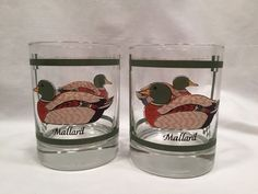 Libbey Glasses Old Fashioned Tumblers Set of 2 Mallard Ducks #Libbey