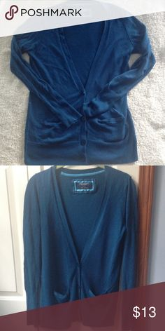 AE cardigan. American Eagle cardigan. Size Medium. Beautiful blue color. Has pockets and buttons. No flaws! American Eagle Outfitters Sweaters Cardigans